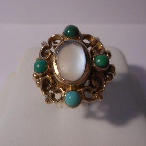 Vintage DHJ 9K 375 Gold Moonstone Ring Size 7